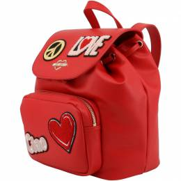 Love Moschino Red Faux Leather Embellished Drawstring Backpack 183469