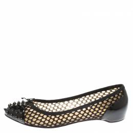 Christian Louboutin Black Patent Leather With Cord Mix Spike Cap Toe Ballet Flats Size 40.5 183014