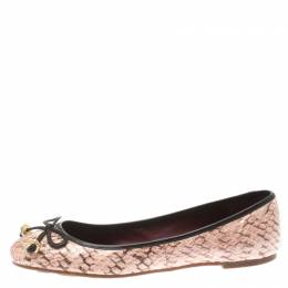 Marc By Marc Jacobs Pink Python Leather Bow Ballet Flats SIze 38.5 185863