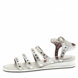 Marc By Marc Jacobs Metallic Silver Leather Gena Studded Ankle Strap Flat Sandals Size 36 186127