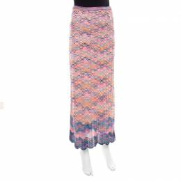 Missoni Multicolor Perforated Knit Wave Pattern Maxi Skirt M 185586