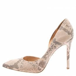 Charlotte Olympia Blush Pink Python Vamp D'orsay Pointed Toe Pumps Size 41 186265