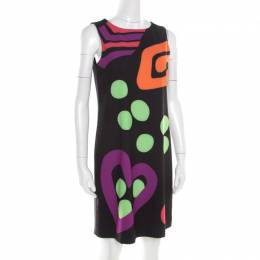 Boutique Moschino Black Abstract Printed Sleeveless Shift Dress M 186616