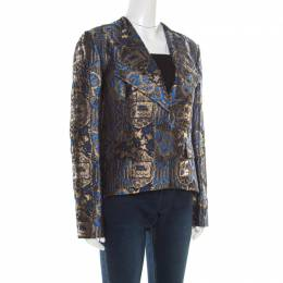 Etro Blue and Gold Lurex Embroidered Jacquard Jacket L 185870