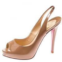 Christian Louboutin Beige Patent Leather Private Number Peep Toe Slingback Sandals Size 38.5