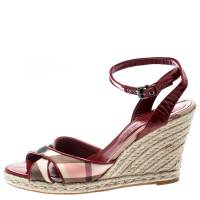 Burberry Red Patent Leather And Novacheck Canvas Espadrille Wedge Sandals Size 40