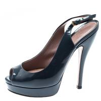 Gucci Grey Patent Leather Peep Toe Slingback Sandals Size 35.5