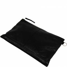 Balenciaga Black Leather Clip M Clutch 188446