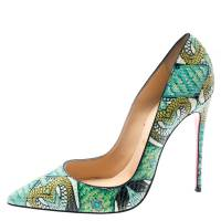 Christian Louboutin Multicolor Hand Painted Python Leather So Kate Pointed Toe Pumps Size 38.5