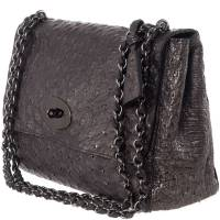 Mulbery Grey Ostrich Skin Leather Bayswater Satchel Bag Mulberry