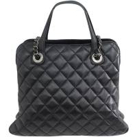 Chanel Black Quilted Leather With CC Logo Shoulder Bag
