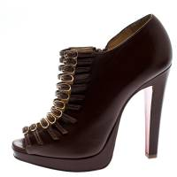 Christian Louboutin Brown Leather Manon Buckle Detail Open Toe Ankle Boots Size 37.5