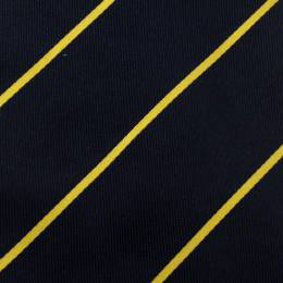 Yves Saint Laurent Vintage Navy Blue and Yellow Striped Silk Tie 125899