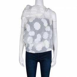 Roland Mouret Off White Cotton Daisy Fil Coupe Draped Eugene Top S 131741