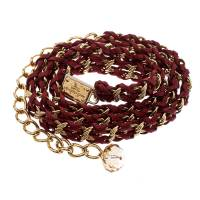 Dolce & Gabbana Red Interwoven Leather Gold Tone Chain Belt