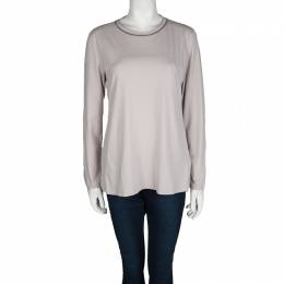 Brunello Cucinelli Grey Cotton Embellished Neck Detail Long Sleeve Top XXL 102772