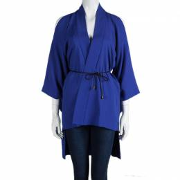Roland Mouret Blue Roche Cold Shoulder Kimono Top S 85264