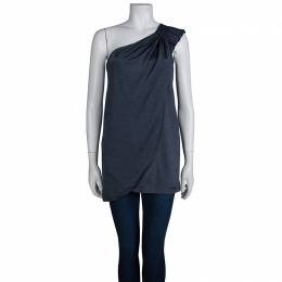 Marc By Marc Jacobs Blue Knit Draped One Shoulder Top XS 72933