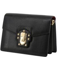 Dolce & Gabbana Black Embossed Leather Lucia Shoulder Bag