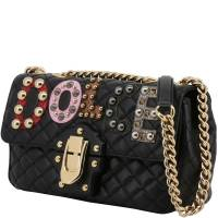 Dolce & Gabbana Black Quilted Leather Embellished Lucia Chain Crossbody Bag