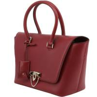 Valentino Red Soft Calfskin Leather Small Demilune Double Handle Bag