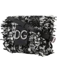 Dolce and Gabbana Black/White Tweed and Leather DG Millennials Crossbody Bag