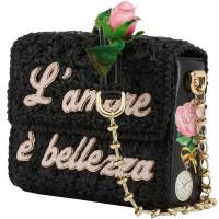 Dolce & Gabbana Black Woven Straw L'amore e' Bellezza Chain Crossbody Bag