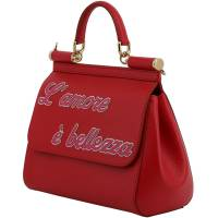 Dolce & Gabbana Red Leather L'amore e' Bellezza Miss Sicily Bag