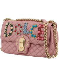 Dolce & Gabbana Pink Quilted Leather Embellished Lucia Chain Crossbody Bag