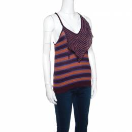 M Missoni Brown and Blue Striped Knit Tie Detail Racer Back Top M 158054