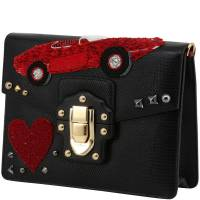 Dolce & Gabbana Black Embossed Leather Embellished Lucia Crossbody Bag