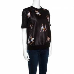 Rochas Black Ballerina Printed Satin and Knit Short Sleeve Top L 158484