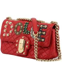 Dolce & Gabbana Red Quilted Leather Embellished Lucia Chain Crossbody Bag