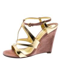 Sergio Rossi Metallic Gold Leather And Beige Suede Cut Out Ankle Strap Wedge Sandals Size 37