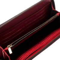 Carolina Herrera Red Monogram Leather Zip Around Wallet