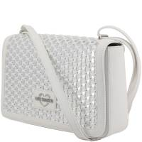 Love Moschino White and Silver Faux Leather Applique Shoulder Bag
