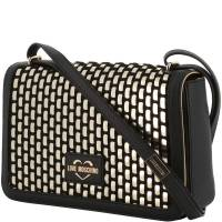 Love Moschino Black and Silver Faux Leather Applique Shoulder Bag