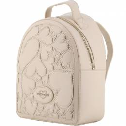Love Moschino Beige Faux Cut-Out Perforated Leather Backpack 196201
