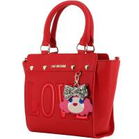 Love Moschino Red Faux Leather Love Applique Top Handle Bag