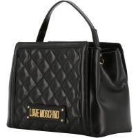 Love Moschino Black Quilted Faux Leather Top Handle Bag