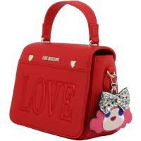 Love Moschino Red Faux Leather Love Applique Crossbody Bag