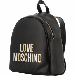 Love Moschino Black Faux Leather Gold and Silver applique Backpack 196166