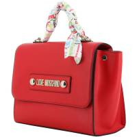 Love Moschino Red Faux Leather Scarf Top Handle Bag