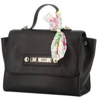 Love Moschino Black Faux Leather Scarf Top Handle Bag