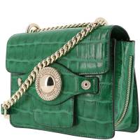 Versace Jeans Green Croc Embosed Faux Leather Chain Crossbody Bag