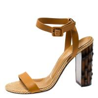Gucci Marigold Leather Dahlia Bamboo Heel Ankle Strap Sandals Size 37.5