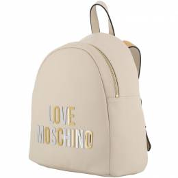 Love Moschino White Faux Leather Applique Backpack 196165