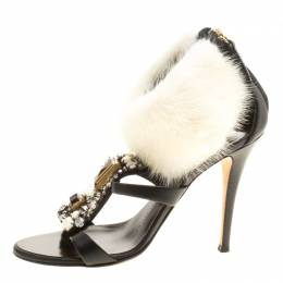 Giuseppe Zanotti Design Black Crystal Embellished Leather with Fur Ankle Cuff Peep Toe Sandals Size 36.5 143737
