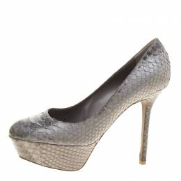 Sergio Rossi Grey Python Leather Platform Pumps Size 36.5 143740