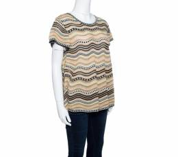 M Missoni Multicolor Lurex Perforated Knit Wave Patterned Short Sleeve Top M 143611